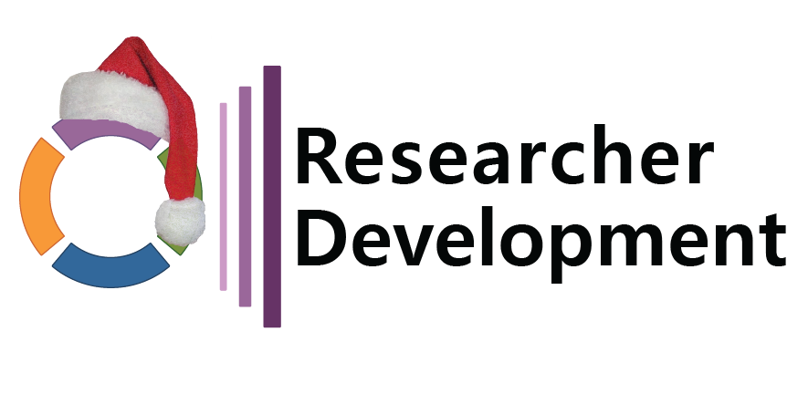 Researcher Development logo wearing a santa hat
